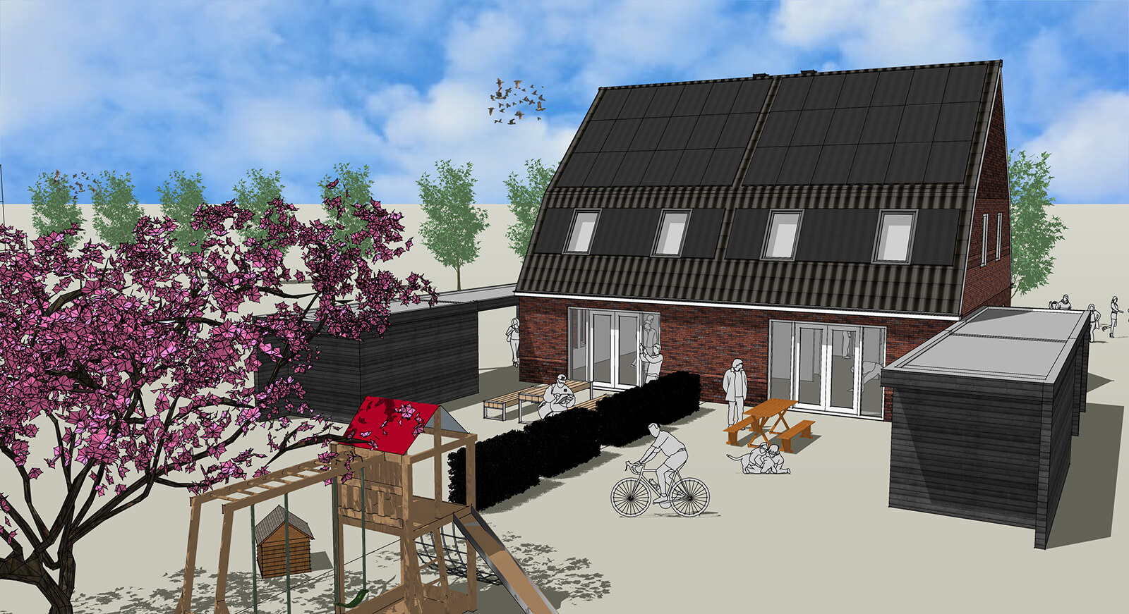 3D tekening nieuwbouwhuis